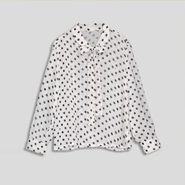Polka Dot Self Tie Neck Slim Women's Shirt