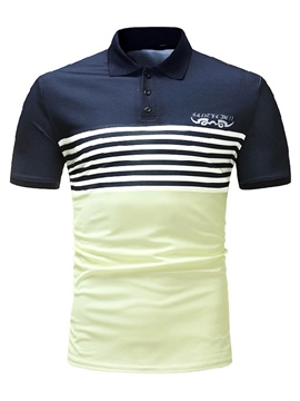 Ericdress Color Block Slim Fit Stripe Mens Polo T Shirt