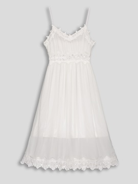 See-Through Lace Floor-Length A-Line Dress