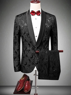 Ericdress Printed One Button Mens Black Wedding Ball Suits