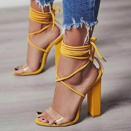 EricdressStrappy Patchwork Lace-Up Chunky Sandals