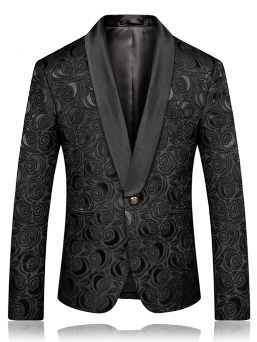 Ericdress Black Printed Slim Fit Mens Wedding Ball Blazer