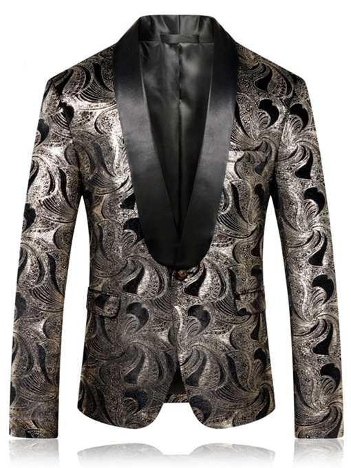 Ericdress Printed Notched Lapel Straight Mens Wedding Ball Blazer