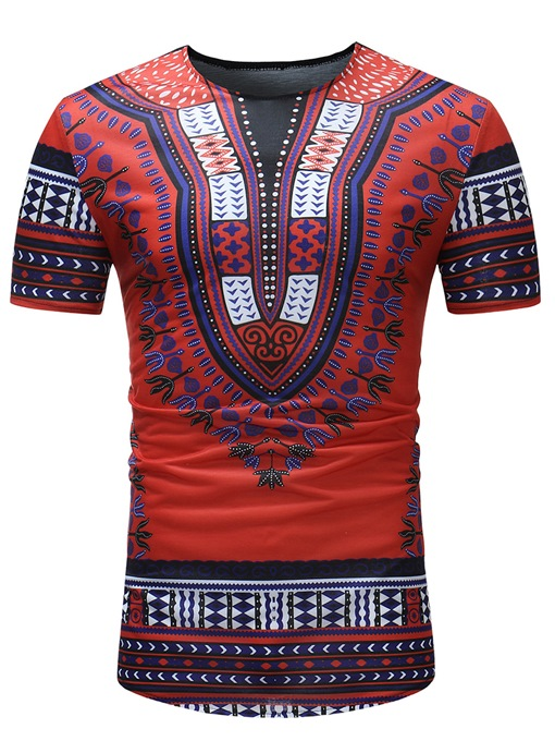 Ericdress African Fashion Dashiki Print Slim Fit Mens Scoop T Shirt