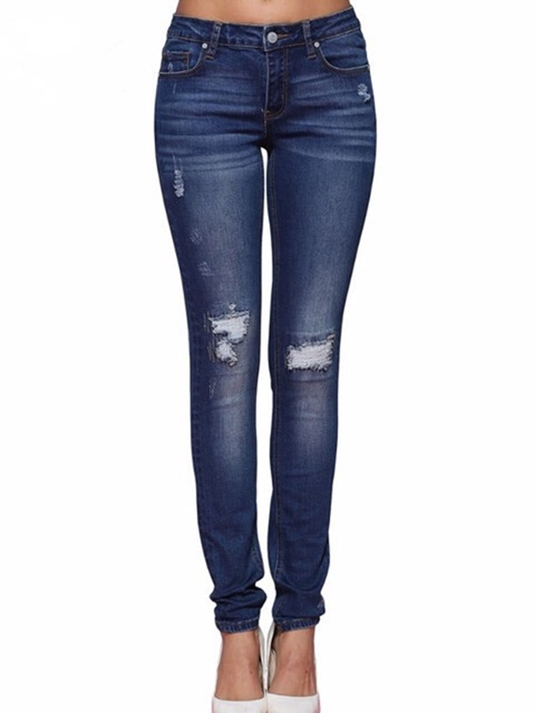 Ericdress Ripped Pencil Pants Plain Womens Womens Jeans