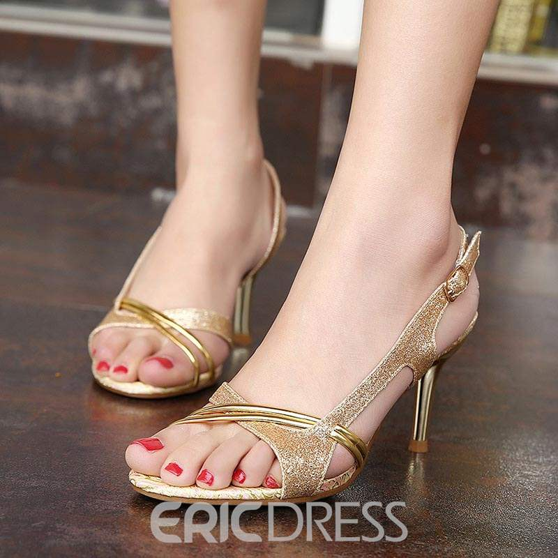 Ericdress Sequin Buckle Slingback Strap Stiletto Sandals