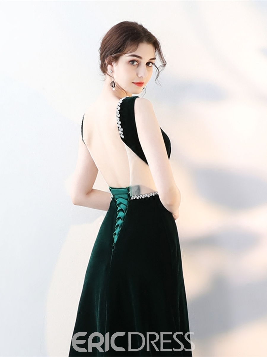 Ericdress A Line Velvet Backless Evening Dress With Beadings