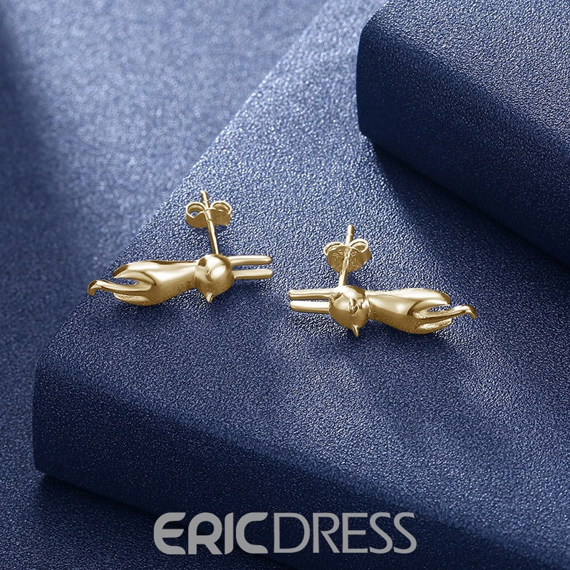 Ericdress Cute Cat Silver Stud Earrings