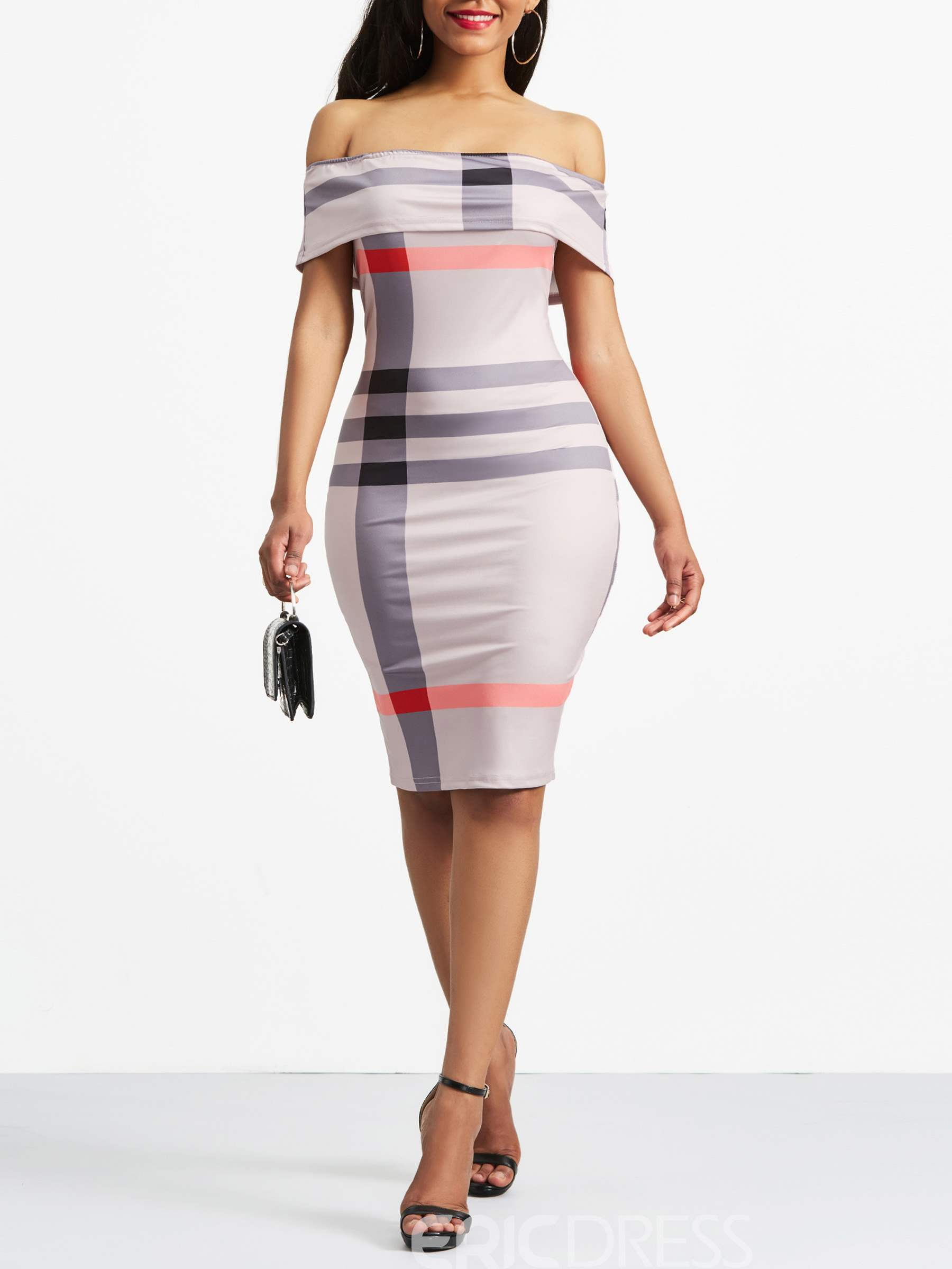 Ericdress Ball Gown Slash Neck Backless Stripe Bodycon Dress ...