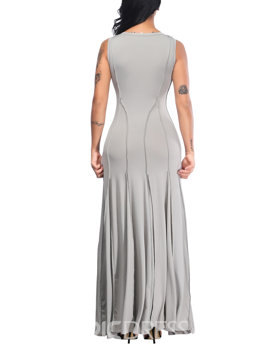 Ericdress Ankle-Length Pullover Scoop Simple Maxi Dress