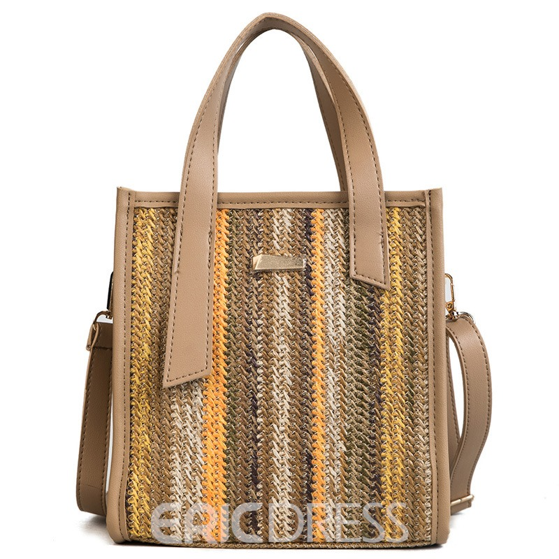 Ericdress Holiday Knitted Plain Tote Bag