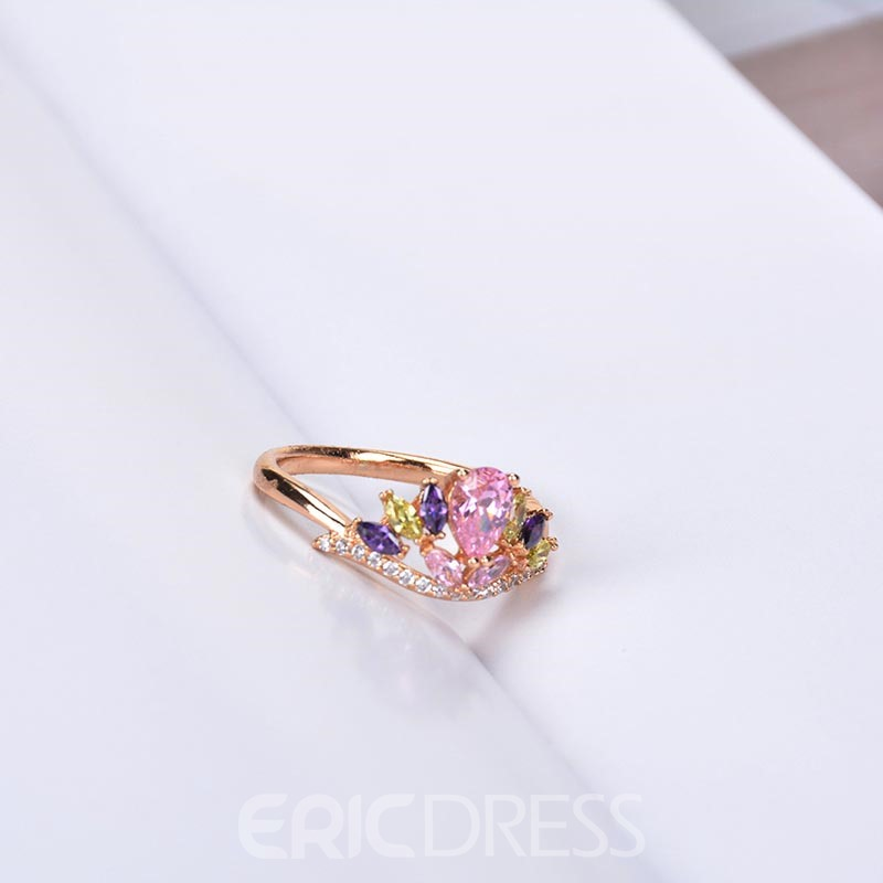 Ericdress Colorful Zircon Crown Ring