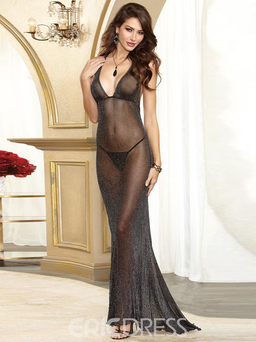 Ericdress Deep V-Neck Flash Mesh Floor-Length Sexy Night Dress