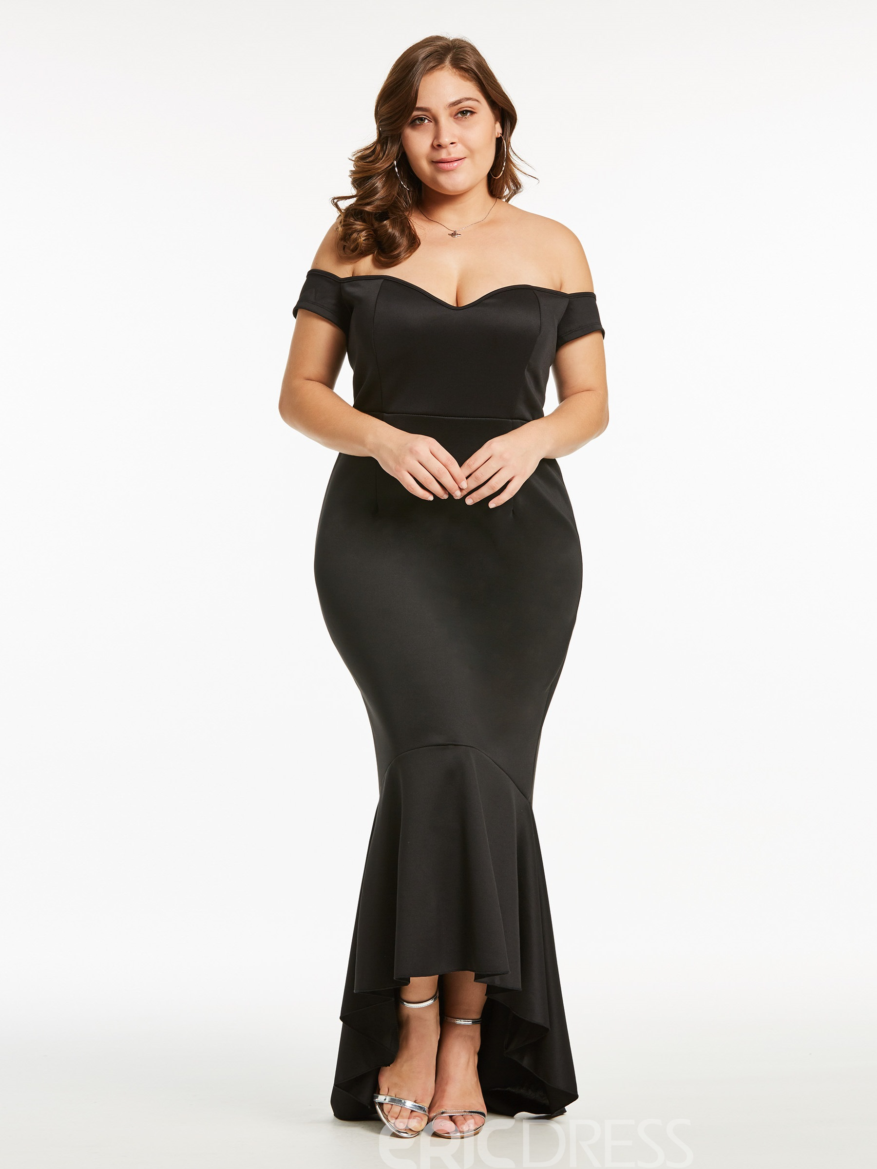 Ericdress Mermaid Off Shoulder Backless Single Bodycon Dress