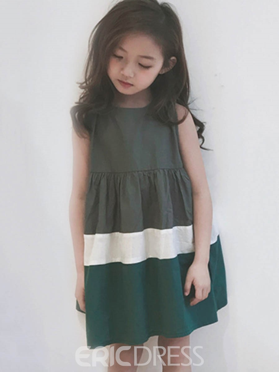 Ericdress Color Block A-Line Sleeveless Girl's Casual Dress