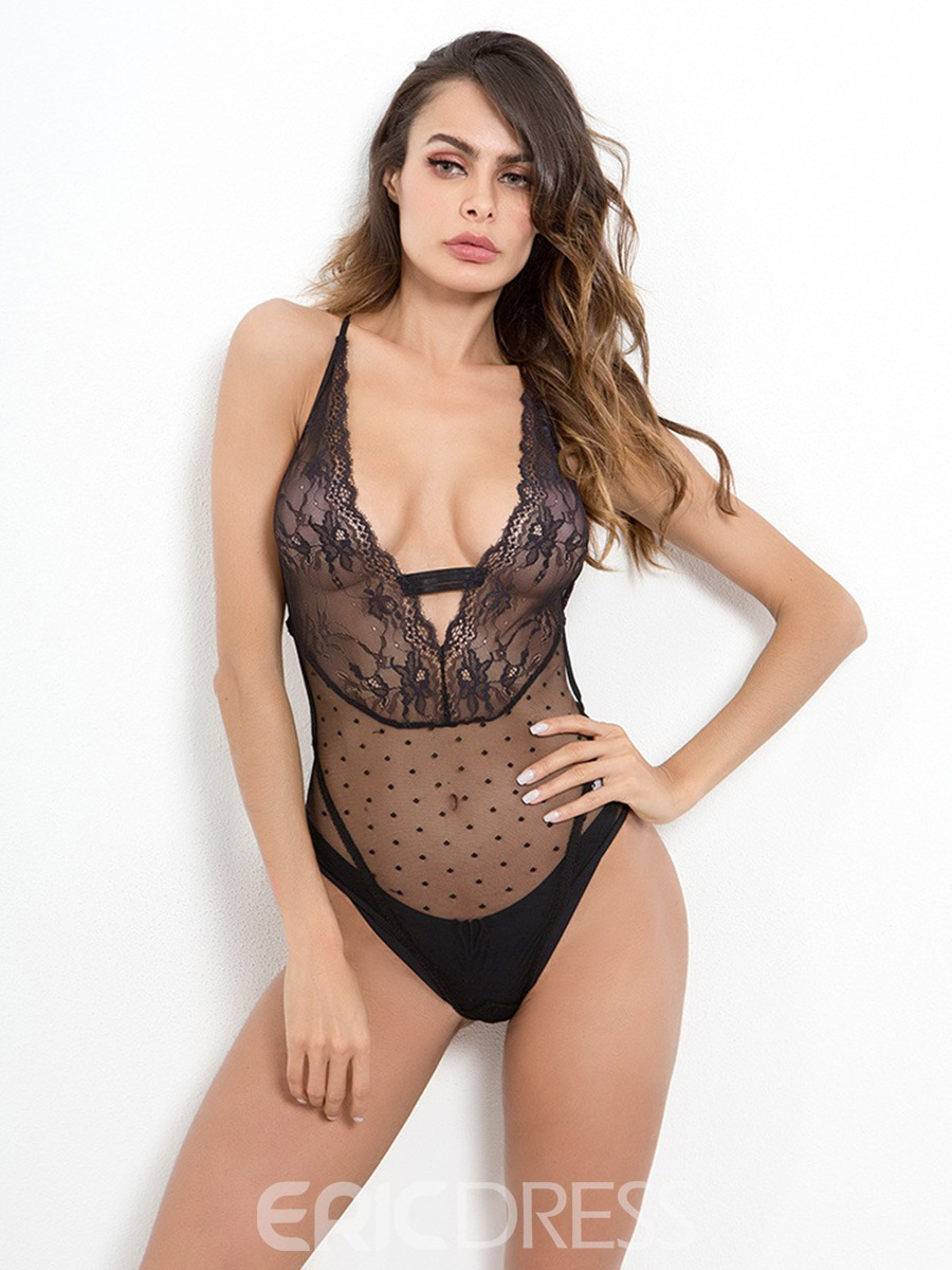 Ericdress Deep V Neck Sexy Lace Backless Criss-Cross Teddy Bodysuit