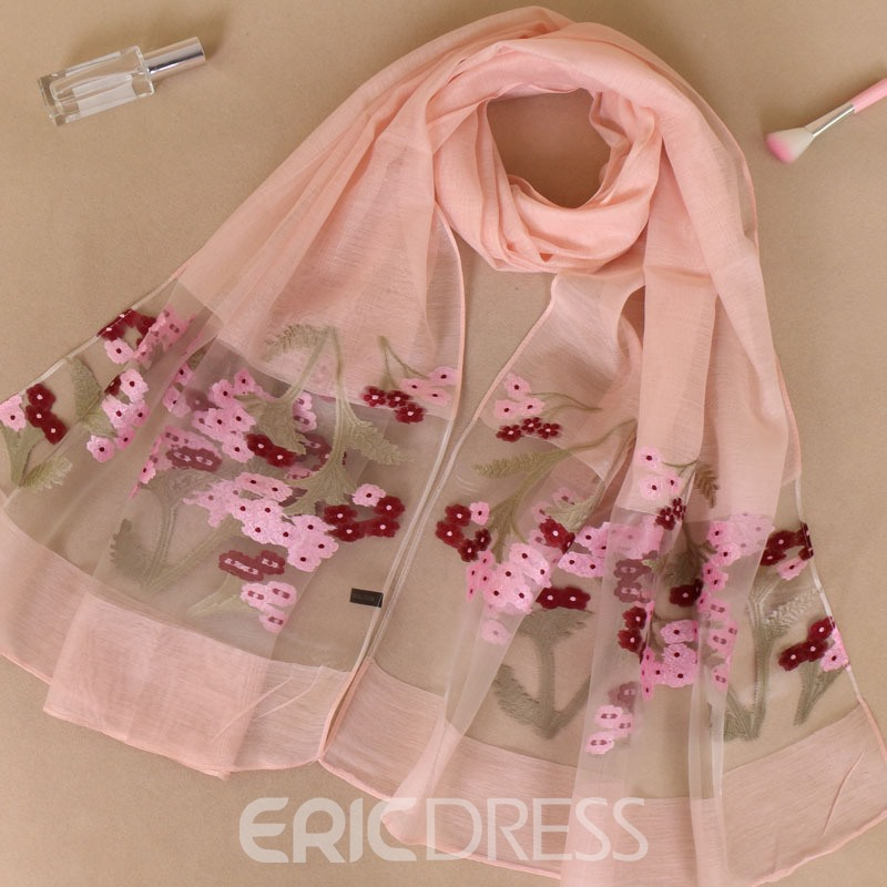 Ericdress Embroider Floral Scarf