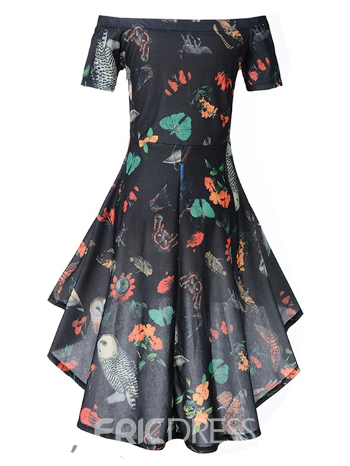 Ericdress Floral Off Shoulder Asymmetric A-Line Dress