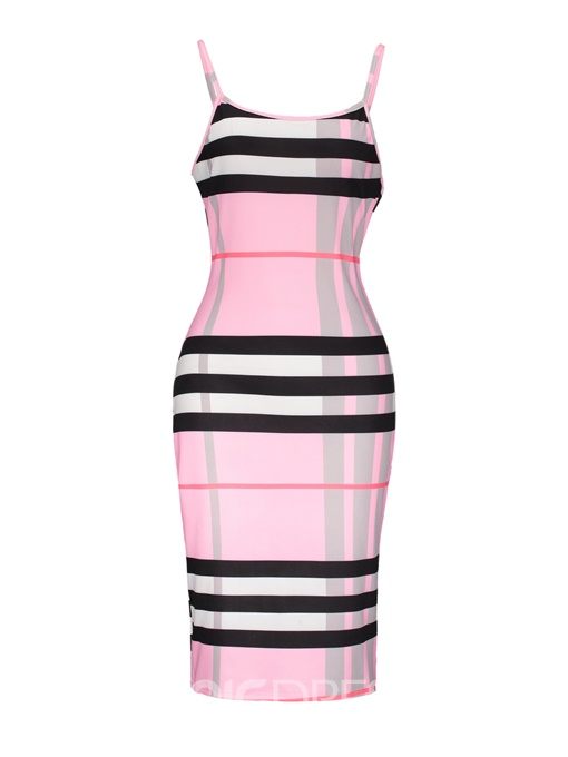 Ericdress Gingham Color Block Backless Print Bodycon Dress