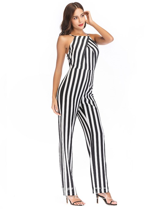 Ericdress Stripe Backless Women's Jumpsuit