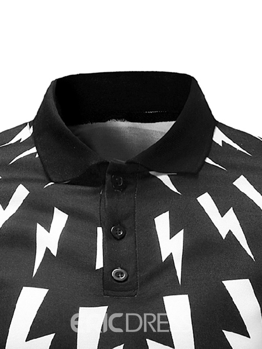 Ericdress Lightning Printed Slim Fit Mens Polo T Shirt
