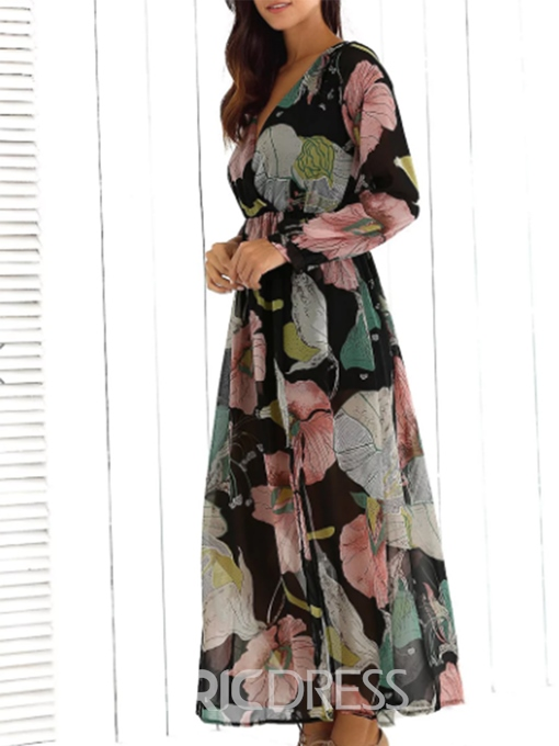 Ericdress V-Neck Floral Split Sexy Casual Dress