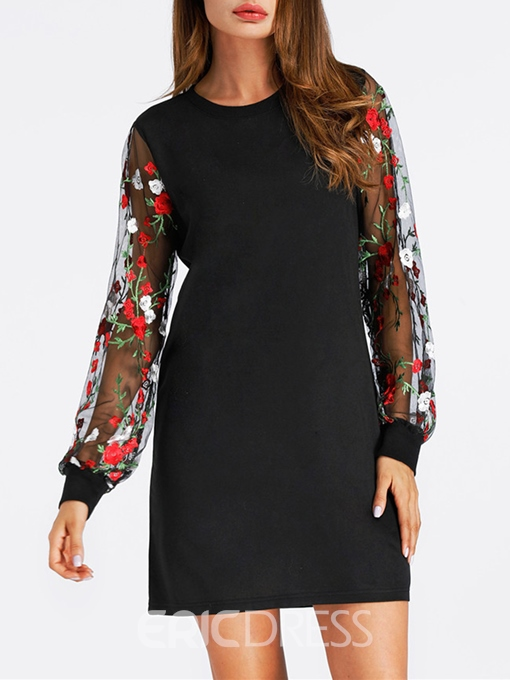 Ericdress Embroidery Floral See-Through Straight Casual Dress