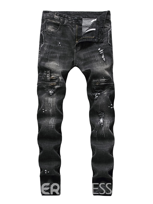 Ericdress Straight Worn Zipper Mens Ripped Jeans