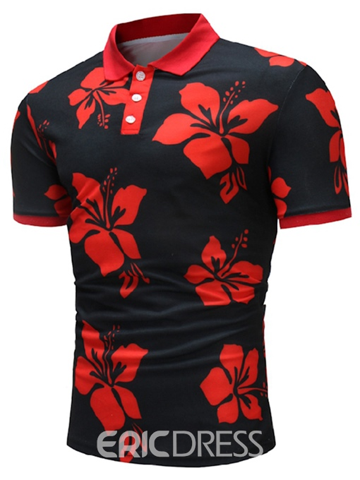Ericdress Floral Print Slim Fit Mens Polo T Shirt