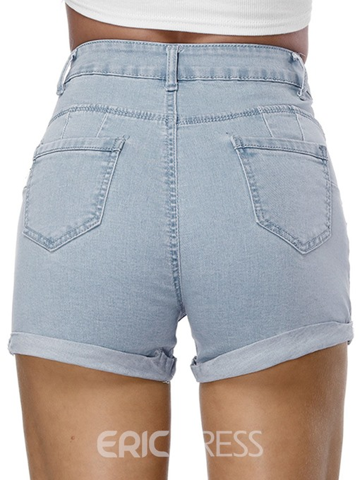 Ericdress Plain Denim Mid-Waist Women's Shorts