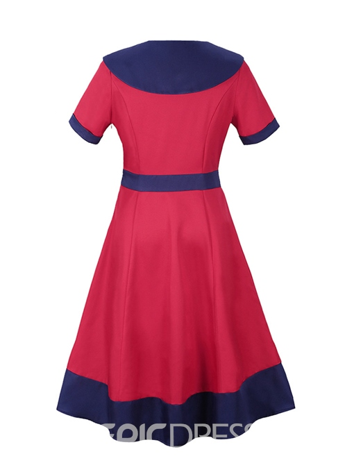 Ericdress Crew Neck Patchwork Button A-Line Dress