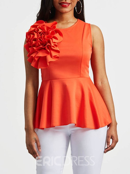 Ericdress Plain Ruffles Appliques Zipper Sleeveless Top
