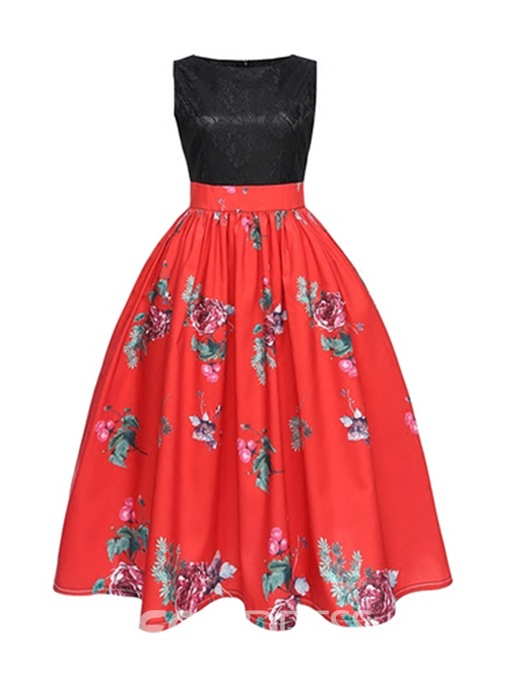 Ericdress Red Lace Round Neck Trumpet A-Line Dress