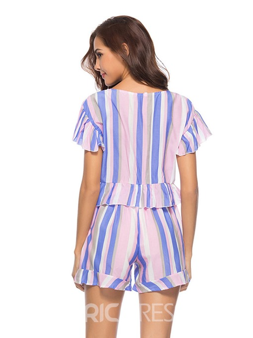 Ericdress Stripe Lace-Up Vest and Shorts Women's Two Piece Set