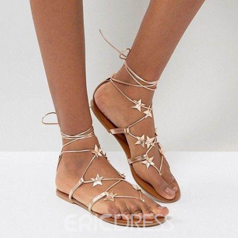 Ericdress Casual Thong Lace-Up Plain Flat Sandals