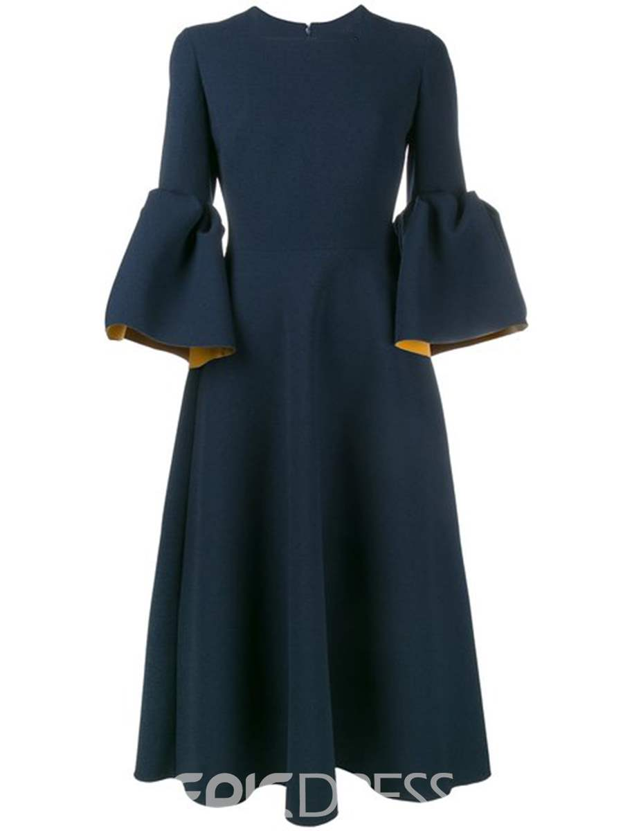 Ericdress Blue Flare Sleeve Patchwork Zipper A-Line Dress