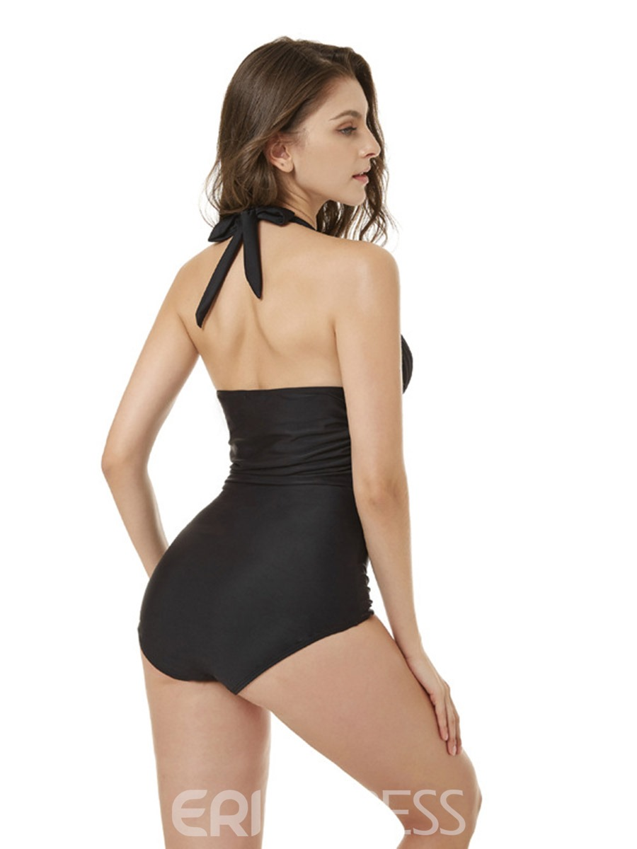 Ericdress Plain Halter Pleated One Piece Bathing Suits