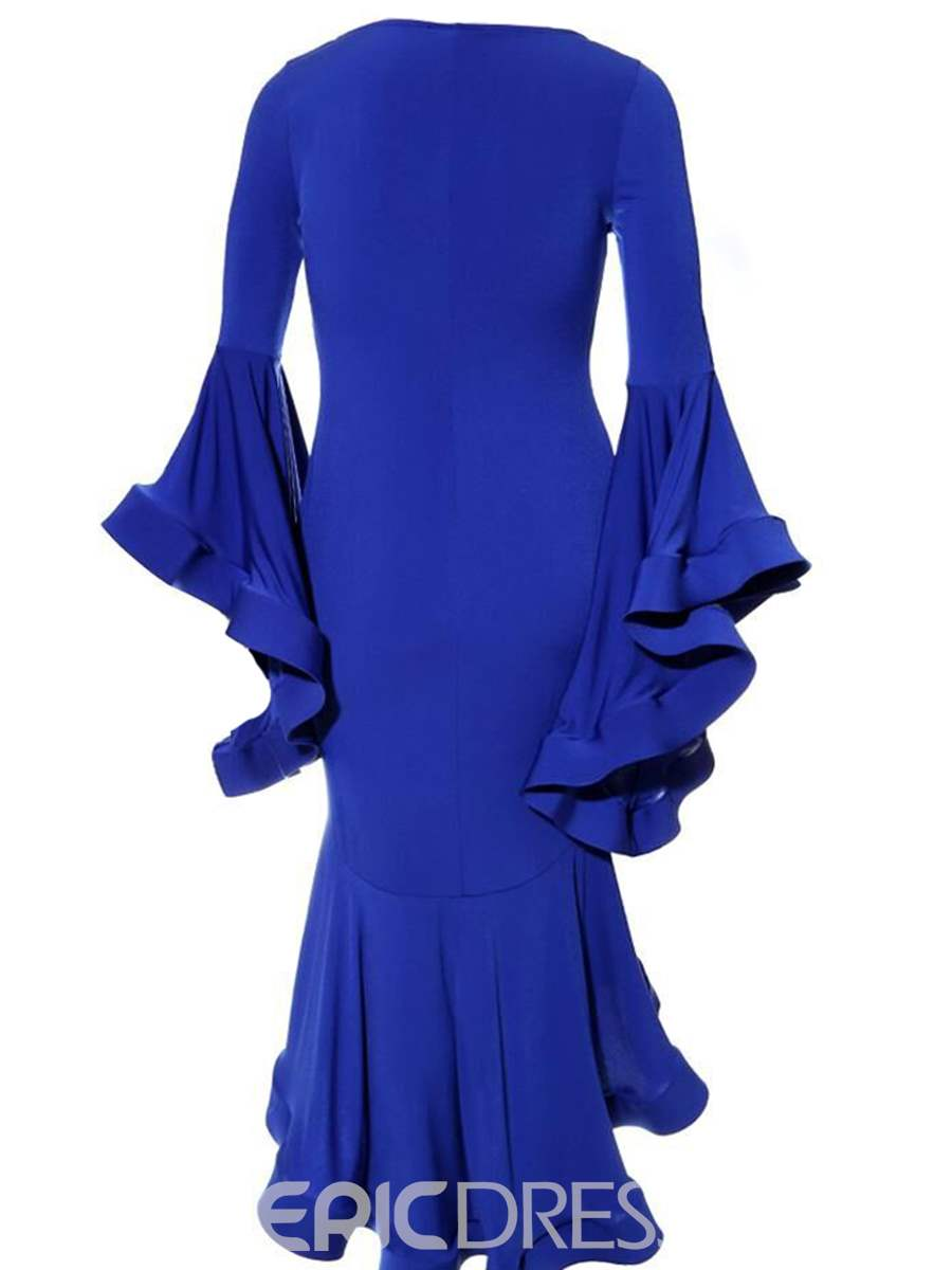 Ericdress Mermaid Flare Sleeve Asymmetric Ruffles Sheath Dress