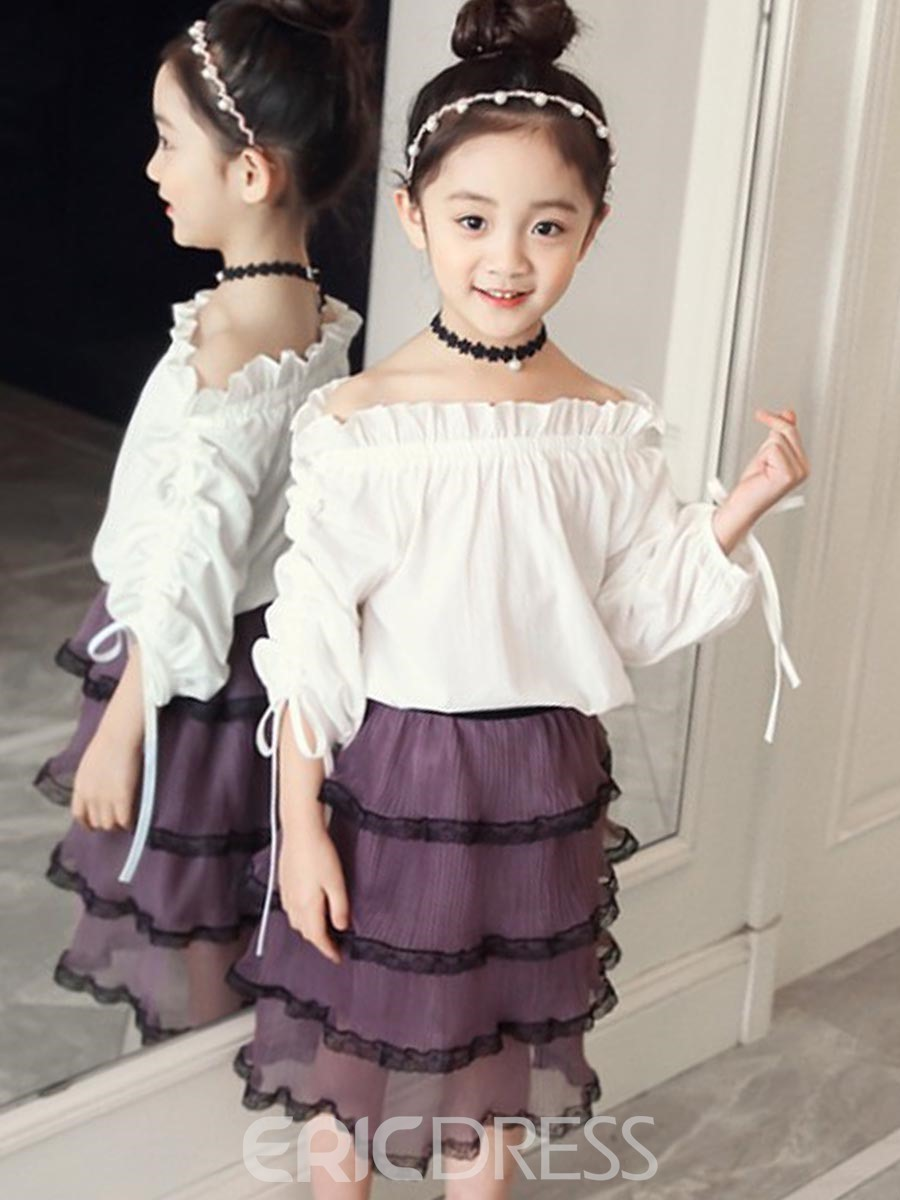 Ericdress Plain T Shirt & Skirt Girl's Pullover Outfits