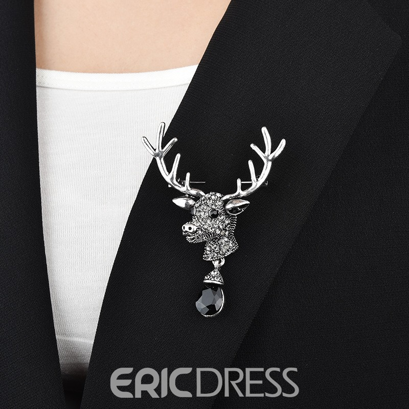 Ericdress Sika Deer Diamante Brooch Pins