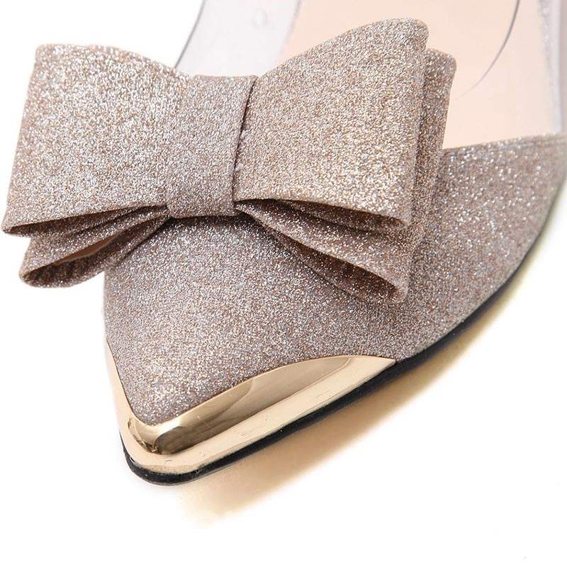 Ericdress Sequin Pointed Toe Stiletto Heel Pumps with Bowknot