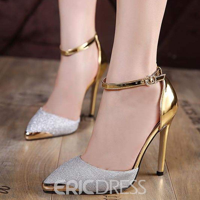 Ericdress Sequin Patchwork Pointed Toe Stiletto Sandals