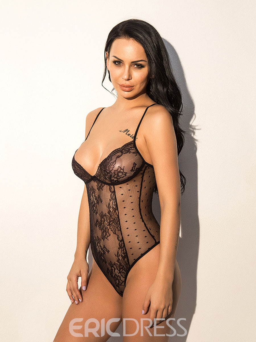 Ericdress Lace Spaghetti Strap See-Through Sexy Teddy Bodysuit