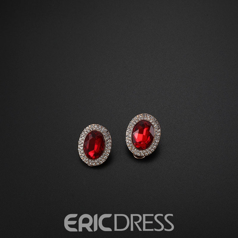 ericdress ellipse ruby ​​ensemble de bijoux