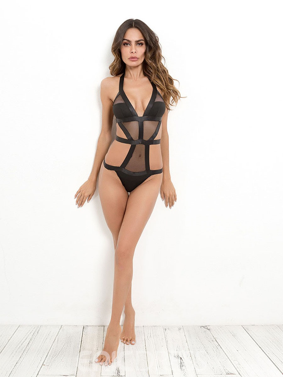 Ericdress Sexy Lace Halter Hollow Back Closure Sexy Teddy Bodysuit