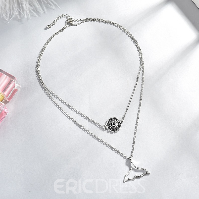 Ericdress Fishtail Double Chain Necklace