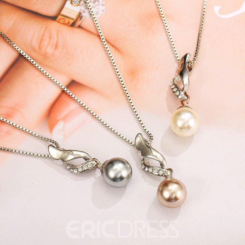 Ericdress Diamante Pearl Charm Necklace