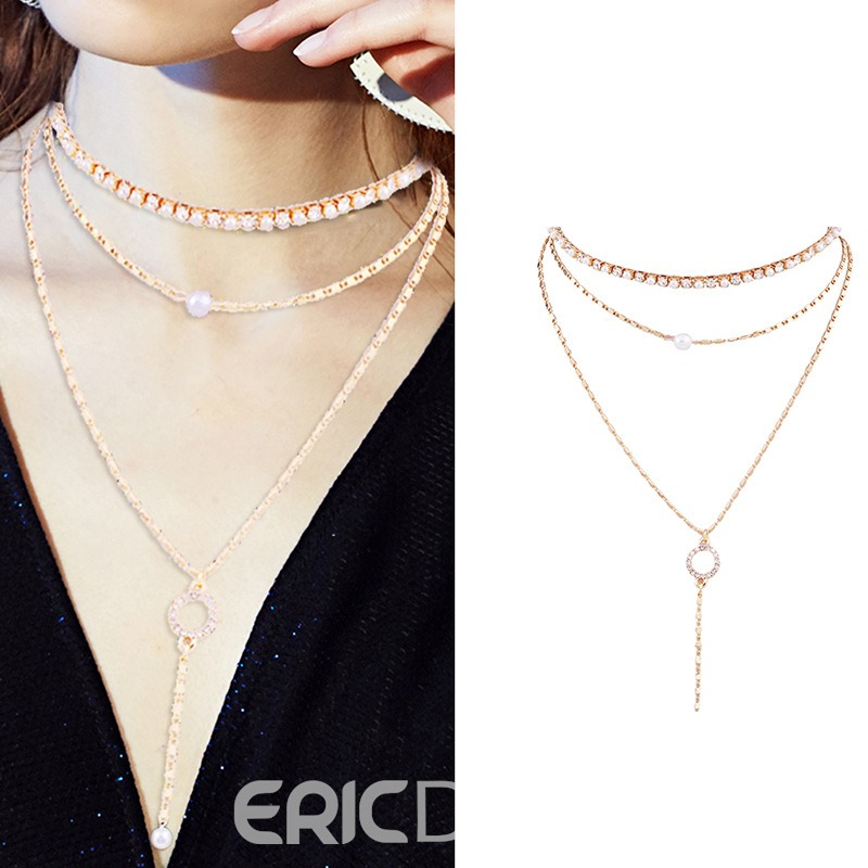 Ericdress multilayer Pearl Choker Necklace