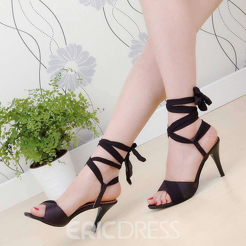 Ericdress Plain Lace-Up Ankle Strap Stiletto Sandals
