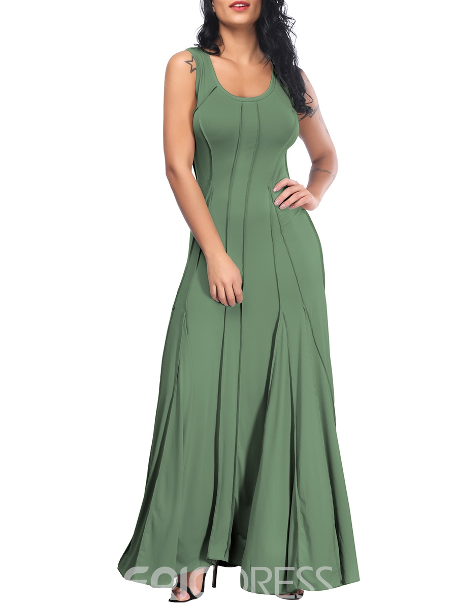 9833f365f0 Ericdress Ankle-Length Pullover Scoop Simple Maxi Dress 13285667 ...